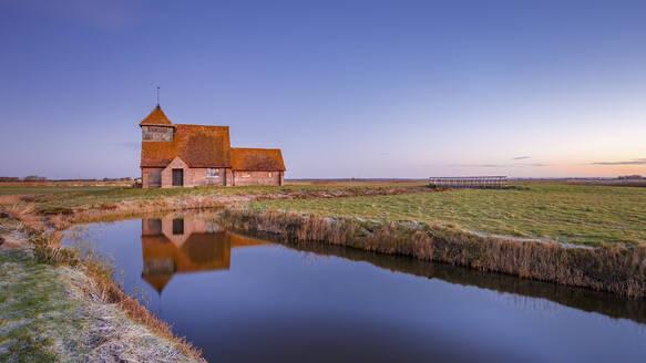 Fairfield Church (St. Thomas a Becket Church) at dawn, Romney Marsh, near Rye, Kent, England, United Kingdom, Europe - RHPLF03074