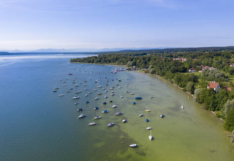 Aerial view of sailboats in Lake Ammersee at Utting, Bavaria, Germany - SIEF08905