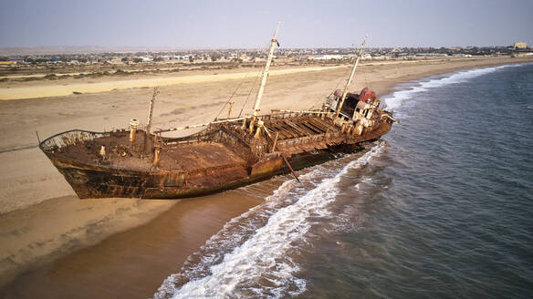 Aerial view of a shipwreck at the beach, Namibe, Africa - VEGF00510