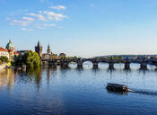 Charles Bridge and Vltava River, Prague, UNESCO World Heritage Site, Bohemia Region, Czech Republic, Europe - RHPLF03549