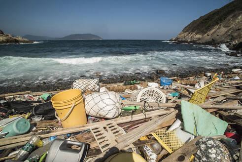 Beach covered in plastic rubbish, Lap Sap Wan, New Territories, Hong Kong, China, Asia - RHPLF03591