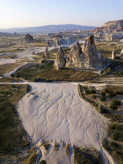 Aerial view of Dove complex monastery against clear sky, Cappadocia, Turkey - KNTF03200