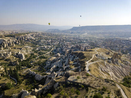 Scenic view of Goreme National Park against clear sky, Cappadocia, Turkey - KNTF03218