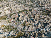 Aerial view of town in Goreme, Cappadocia, Turkey - KNTF03242