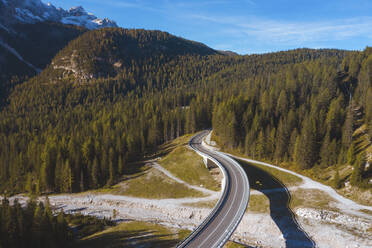 Aerial view of winding road leading towards forest, Italy - WPEF01813
