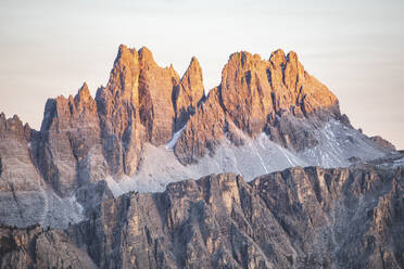 Scenic view of mountain peaks in Italy against sky during sunset, Italy - WPEF01819