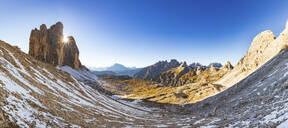 Panoramic view of Tre Cime di Lavaredo against clear blue sky during winter, Italy - WPEF01825