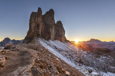 Scenic view of Tre Cime di Lavaredo against clear sky during sunset, Italy - WPEF01831