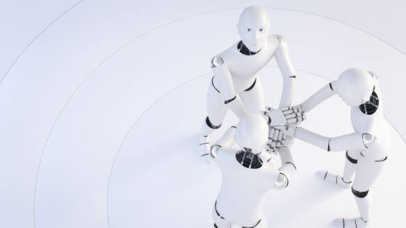 Rendering of three robots stacking hands - AHUF00582
