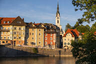Parish Church of the Assumption and buildings by River Isar in town, Bavaria, Germany - LBF02672