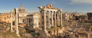 Roman Forum (Foro Romano), Temple of Saturn and Arch of Septimius Severus, UNESCO World Heritage Site, Rome, Lazio, Italy, Europe - RHPLF04820