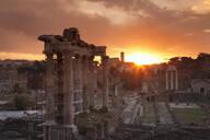 Roman Forum (Foro Romano), Temple of Saturn and Colosseum, UNESCO World Heritage Site, Rome, Lazio, Italy, Europe - RHPLF04823
