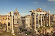 Roman Forum (Foro Romano), Temple of Saturn and Arch of Septimius Severus, UNESCO World Heritage Site, Rome, Lazio, Italy, Europe - RHPLF05339