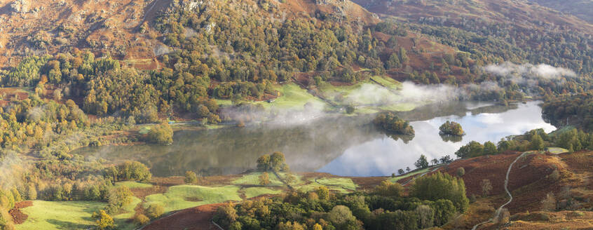 Autumn colour and early morning mist at Rydal Water, seen from Loughrigg Fell, Lake District National Park, UNESCO World Heritage Site, Cumbria, England, United Kingdom, Europe - RHPLF05858