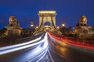The Chain Bridge with traffic light trails, Budapest, Hungary, Europe - RHPLF05888