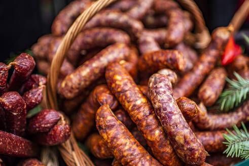 Traditional Romanian food in Bran market, Transylvania, Romania, Europe - RHPLF05996