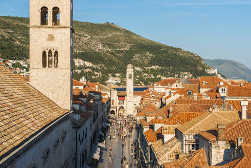View down Stradun from the city walls, UNESCO World Heritage Site, Dubrovnik, Croatia, Europe - RHPLF06101