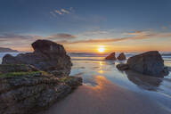 Sun setting over Sango Bay beach in mid-summer, Durness, Highlands, Scotland, United Kingdom, Europe - RHPLF06302