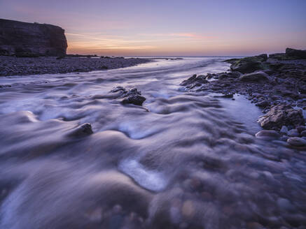 Twilight at mouth of River Otter at Budleigh Salterton, Devon, England, United Kingdom, Europe - RHPLF06371