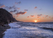 Stormy seas at sunrise at the cliffs in the seaside town of Sidmouth, Devon, England, United Kingdom, Europe - RHPLF06377