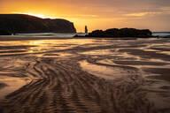 Am Buachaille sea stack at sunset, Sandwood Bay, Sutherland, Scotland, United Kingdom, Europe - RHPLF06500