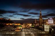 Scott Monument, Waverley Station at night, Edinburgh, Scotland, United Kingdom, Europe - RHPLF06581