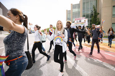 Group of students on gay pride march - HEROF38486