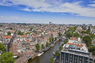An aerial view of the Jordaan and Prinsengracht, Amsterdam, North Holland, The Netherlands, Europe - RHPLF06886
