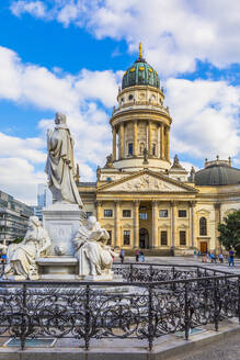 Statue in front of Deutscher Dom on Gendarmenmarkt square, Berlin, Germany - RHPLF06985