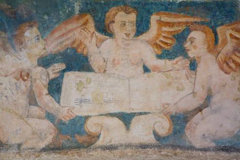 Original 16th century frescoes, Convent de San Bernadino de Siena, built 1552-1560, Valladolid, Yucatan, Mexico, North America - RHPLF07045