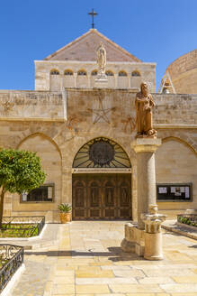 View of exterior of Church of Nativity in Manger Square, Bethlehem, Palestine, Middle East - RHPLF07060