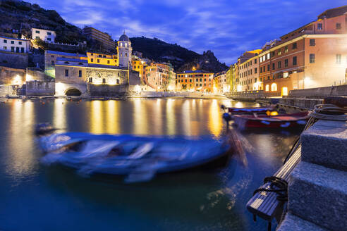 Moored boats in the port of Vernazza at dusk, Cinque Terre, UNESCO World Heritage Site, Liguria, Italy, Europe - RHPLF07198