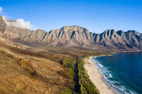 Drone imagery of Kogel Bay Beach an hour from Cape Town, South Africa, Africa - RHPLF07225