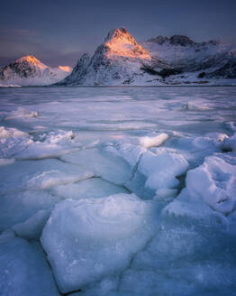 Cracked ice of Flakstadoya lake, Lofoten Islands, Nordland, Norway, Europe - RHPLF07309