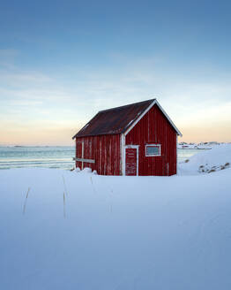 The Red Cabin by the sea, Lofoten Islands, Nordland, Norway, Europe - RHPLF07315
