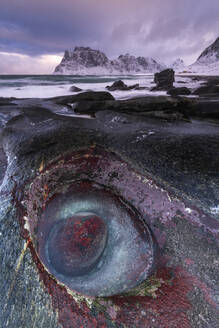 The Devils Eye at Uttakleiv Beach, Vestvagoy, Lofoten Islands, Nordland, Arctic, Norway, Europe - RHPLF07402
