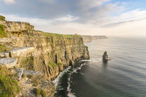 Breanan Mor and O'Briens tower, Cliffs of Moher, Liscannor, County Clare, Munster province, Republic of Ireland, Europe - RHPLF07553