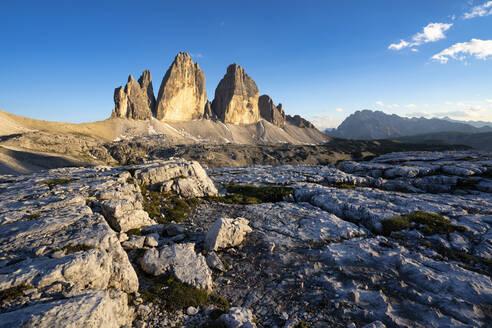 Scenic view of Tre Cime Di Lavaredo against blue sky, Italy - LOMF00889