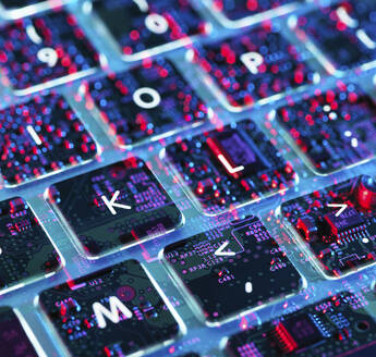 Double exposure of a laptop computer showing electronic components under the keyboard - ABRF00591