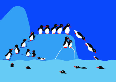 Child's drawing of penguins on iceberg jumping into water - WWF05212