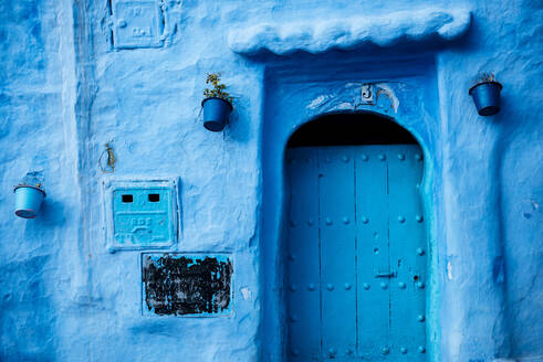 Traditional doorway in Chefchaouen, Morocco, North Africa, Africa - RHPLF07902