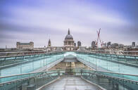 Blue sky over St. Paul's Cathedral and The Millennium Bridge, London, England, United Kingdom, Europe - RHPLF08118