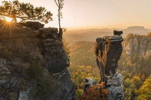 Wehlnadel rocks at sunset in Elbe Sandstone Mountains, Germany, Europe - RHPLF08325