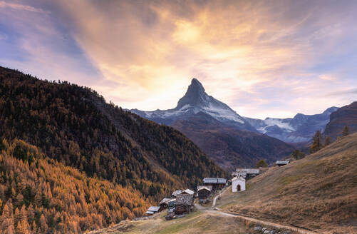 Village of Findeln by Matterhorn at sunset in Zermatt, Switzerland, Europe - RHPLF08349