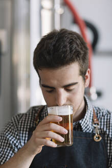 Young man testing beer at a brewery - ALBF01071