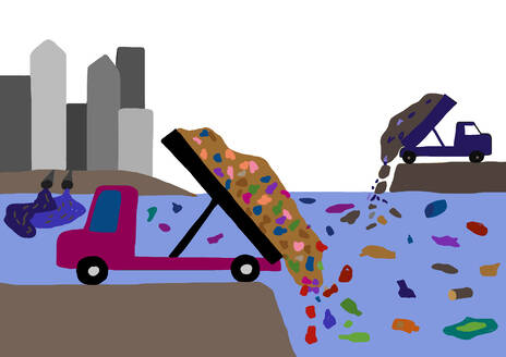 Child's drawing of dump trucks dumping waste in the sea - WWF05225