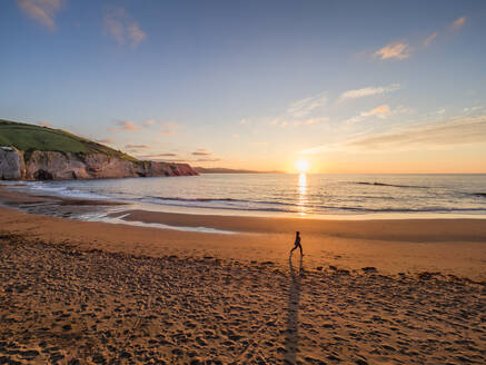 Scenic view of beach against sky at sunset, Basque Coast Geopark, Spain - LAF02363
