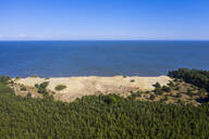 Aerial view of seascape against blue sky during sunny day, Curonian Spit, Russia - RUNF02909