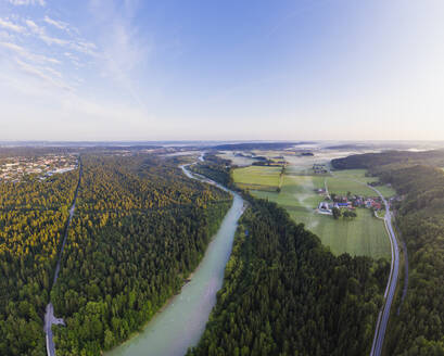 Aerial view of Geretsried and Isar River, Nature Reserve Isarauen, Tölzer Land, Upper Bavaria, Bavaria, Germany - SIEF08982