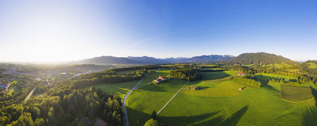 Panoramic shot of landscape against sky seen from Isartal, Upper Bavaria, Bavaria, Germany - SIEF08991